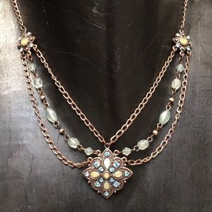 1928 copper necklace sea green & blue